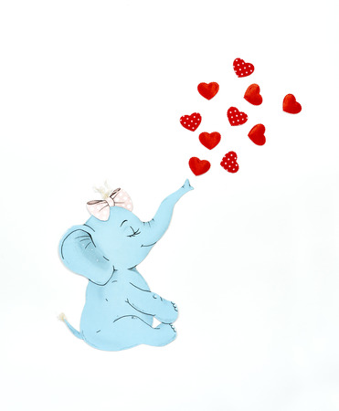 Elephant and hearts on the white background 写真素材
