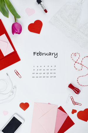 Page from calendar for february 2019 版權商用圖片