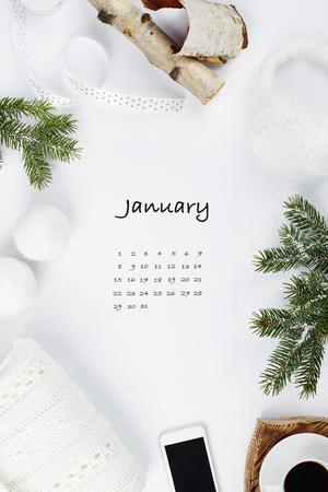 Calendar for January 2019 creative background