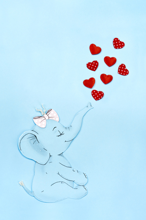 Shot of elephant and hearts