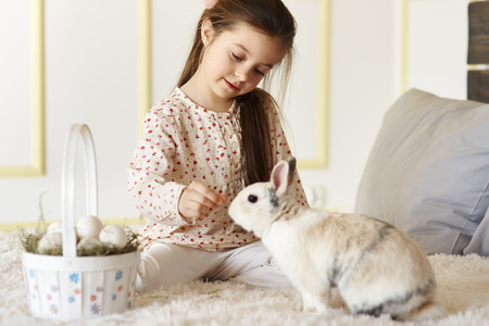Small girl playing with rabbit on the bed Imagens