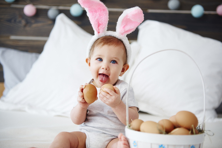 Adorable baby wearing in rabbit costume