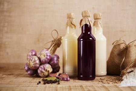 Glass bottles of homemade sourdough for sour soup