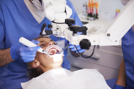 Young woman at the dentist Stockfoto