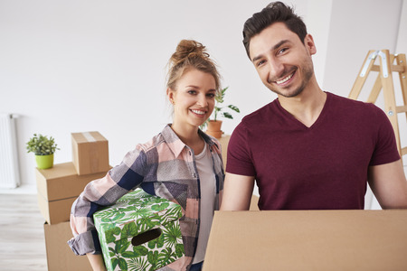 Young couple just move to their new apartment