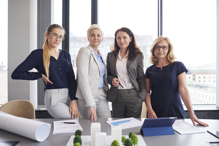 Portrait of four businesswomen in the office Stock Photo