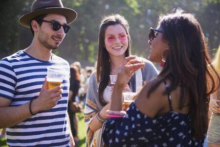 Friends in good mood in festival  스톡 콘텐츠