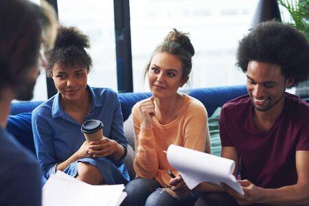 Young adult coworkers having business meeting Zdjęcie Seryjne