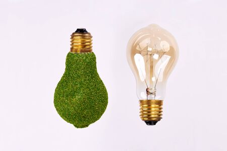 Light bulb and energy efficient lightbulb on white background