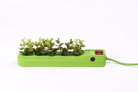 Electric socket with plants on white background 版權商用圖片