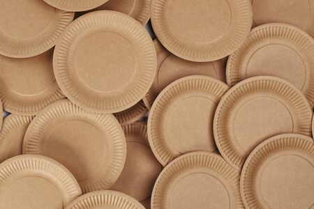 Stack of disposable paper plates