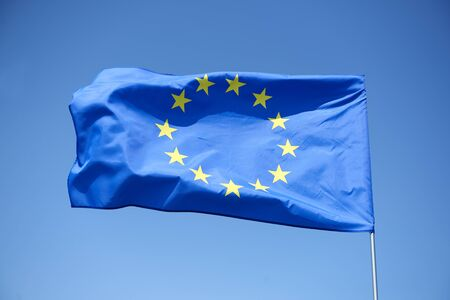 European Union flag on the blue background