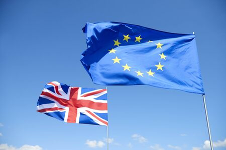 Concept of brexit flags outside