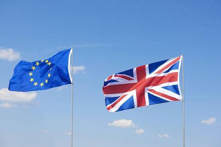 Shot of brexit flags waving outside Stockfoto