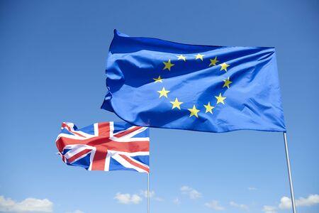 Flags of  European Union and Britain represent brexit Stock fotó