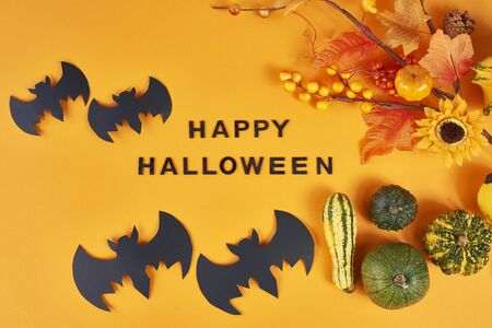 Halloween greeting card with bats and pumpkins Reklamní fotografie - 130853088
