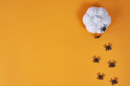Banner with spiders and pumpkin for Halloween