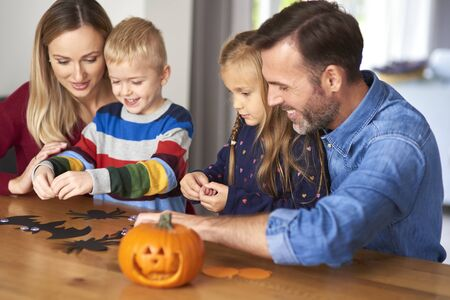 Happy family and halloween time