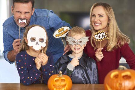 Portrait of family in Halloween masks  Reklamní fotografie