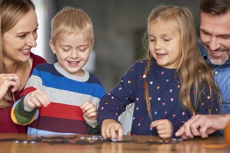 Happy family spending halloween together Reklamní fotografie
