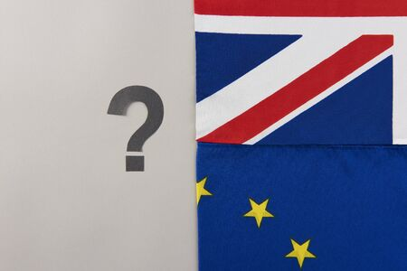 British and European Union flags with big question mark