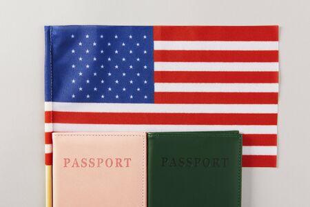 Shot of American flag and passport 写真素材