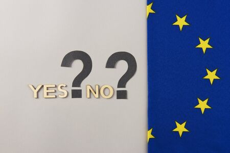 European Union flag with two question marks