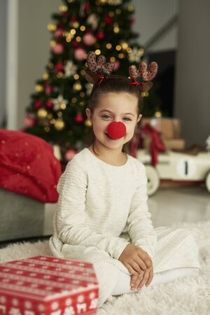 Portrait of charming girl in Christmas costume