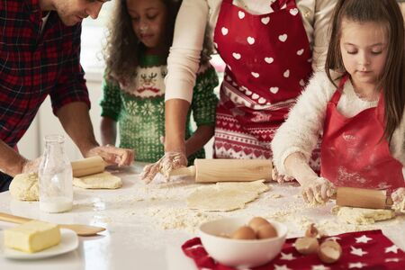 Rolling the dough for Christmas cookies Stok Fotoğraf