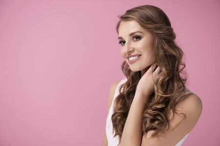 Charming woman with perfect smile