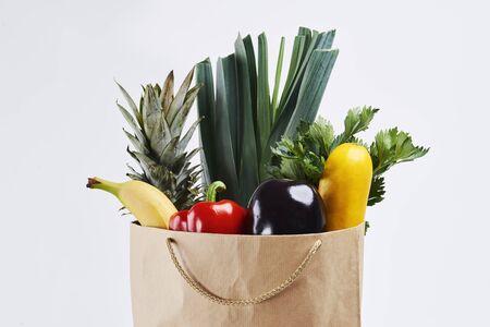 Paper bag of fresh vegetable