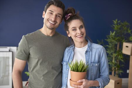 Portrait of young home owners Stock Photo