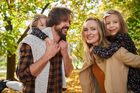 Cheerful family in actively spending time