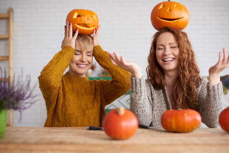 Funny girls in halloween time