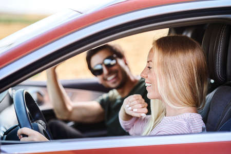 Couple driving in the car Stock Photo
