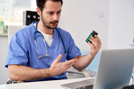 Doctor recommends medications during the online consultation