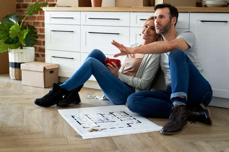 Couple in their new apartment makes plans for the future