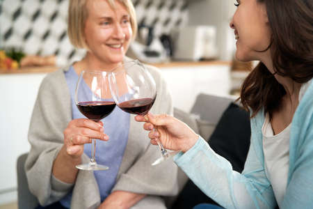 Two generation women toasting in wine at home Foto de archivo - 167214183