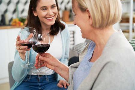 Happy women toasting in wine at home Foto de archivo - 167213576