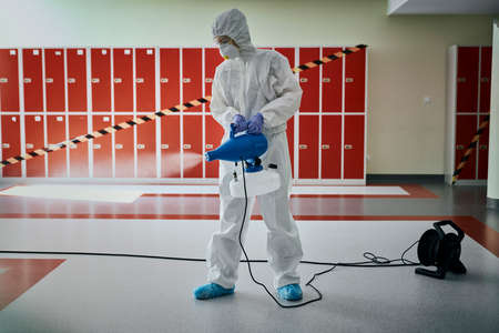 Routine disinfection of building hallway