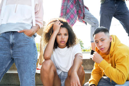 Close up portrait of group young people outdoors