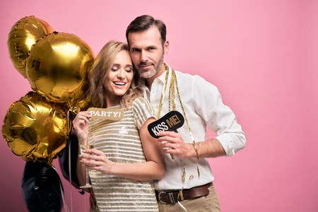Happy couple celebrating the New Year's Eve