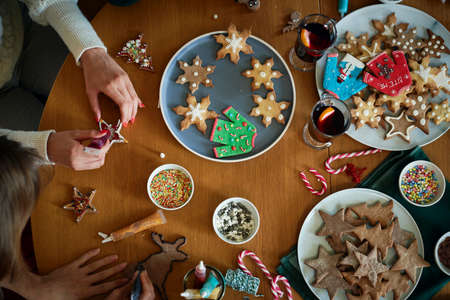 Top view on table full of gingerbread cookies