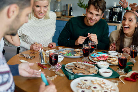 Best friends around Christmas table