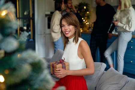 Portrait of attractive woman holding Christmas present