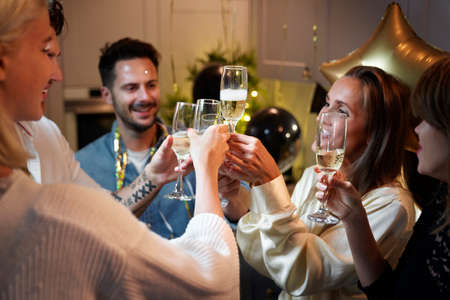 Friends making a toast on  New year's Eve