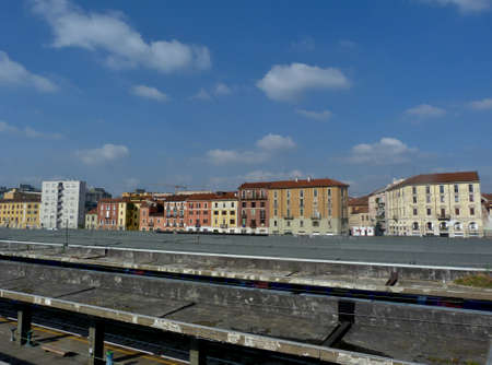 tenement buildings: blue sky Stock Photo