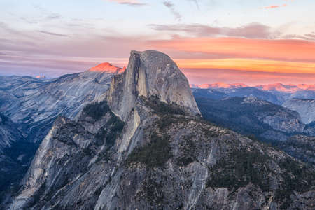 half dome: View of Half Dome from the Glacier Point in the Yosemite National Park