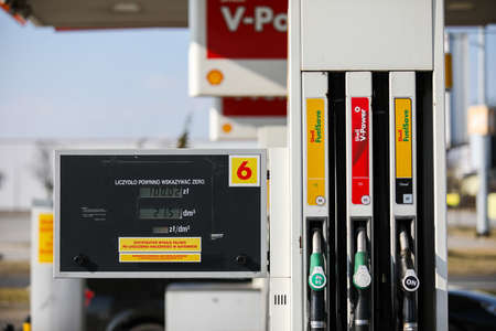 Czestochowa, Poland, Silesia -17 March 2020: SHELL gas station, gas pump, SHELL V- POWER fuel, SHELL FuelSave