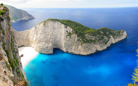 Panoramic view of Navagio beach in Zakynthos, Greece.